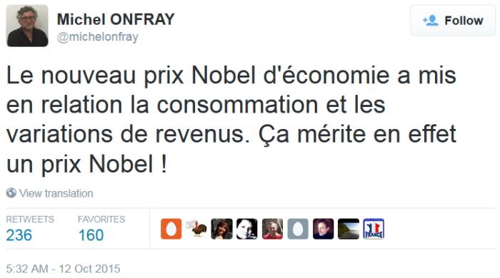 """""""Giải Nobel kinh tế đã kết nối tiêu dùng và những biến thiên của thu nhập. Quả thật điều này xứng đáng để được trao giải Nobel!"""""""