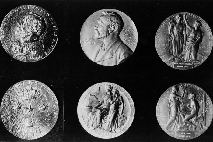 The Nobel medals of Nobel Prize 1976 - Upper l/r - Reverse side of economics, reverse side of literature, chemistry & physics (both prize winners get the same medal), frontside of medecins. Lower l/r - Front side of economics, frontside of chemistry & physics, frontside of literature. (AP Photo)